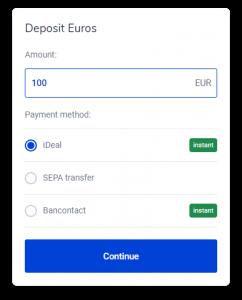 Bitvavo Exchange crypto storten