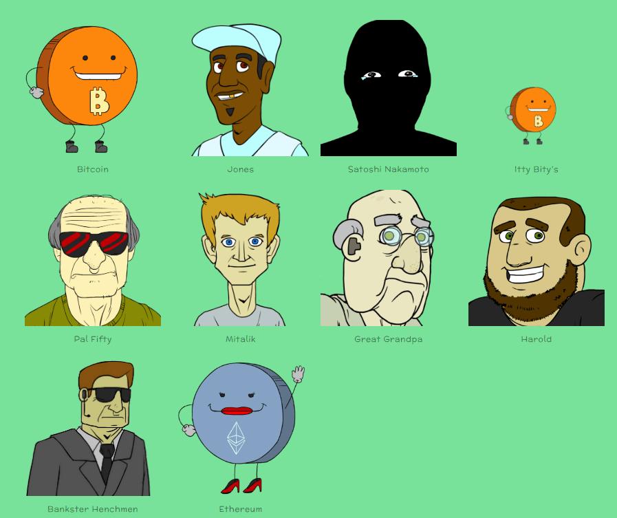 Animatieserie Bitcoin and friends karakters