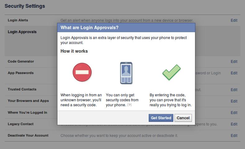 twee staps verificatie 2fa inloggen bij facebook