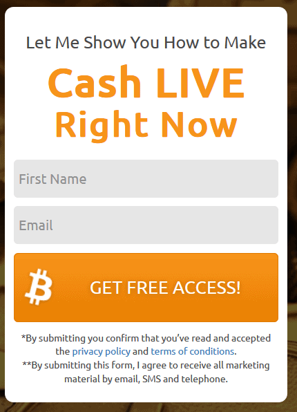 Bitcoin Code registration form screen BTC