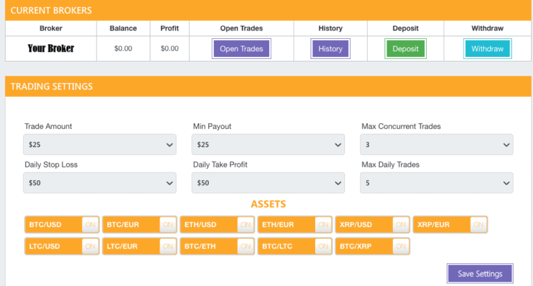 Bitcoin Code trade settings screen