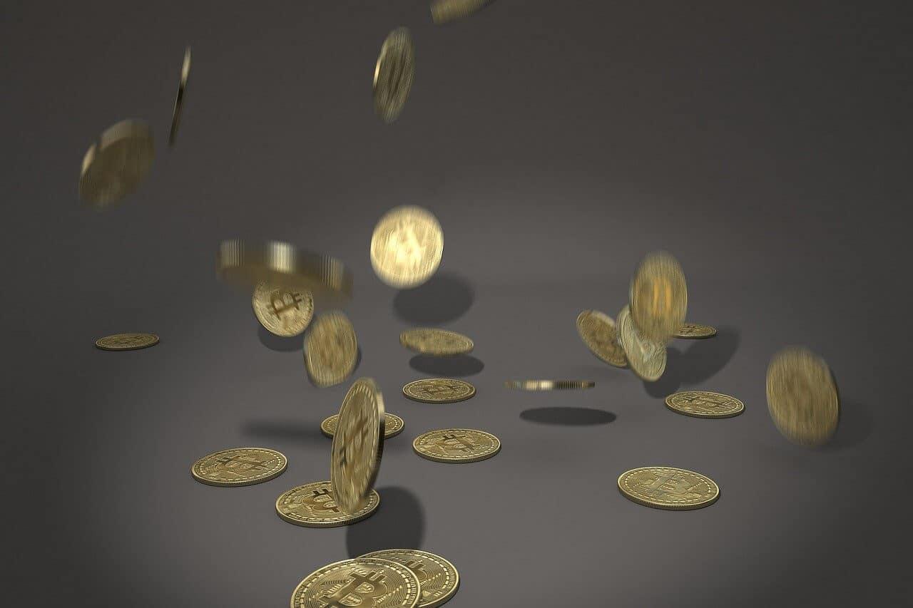 Bitcoin coins rain