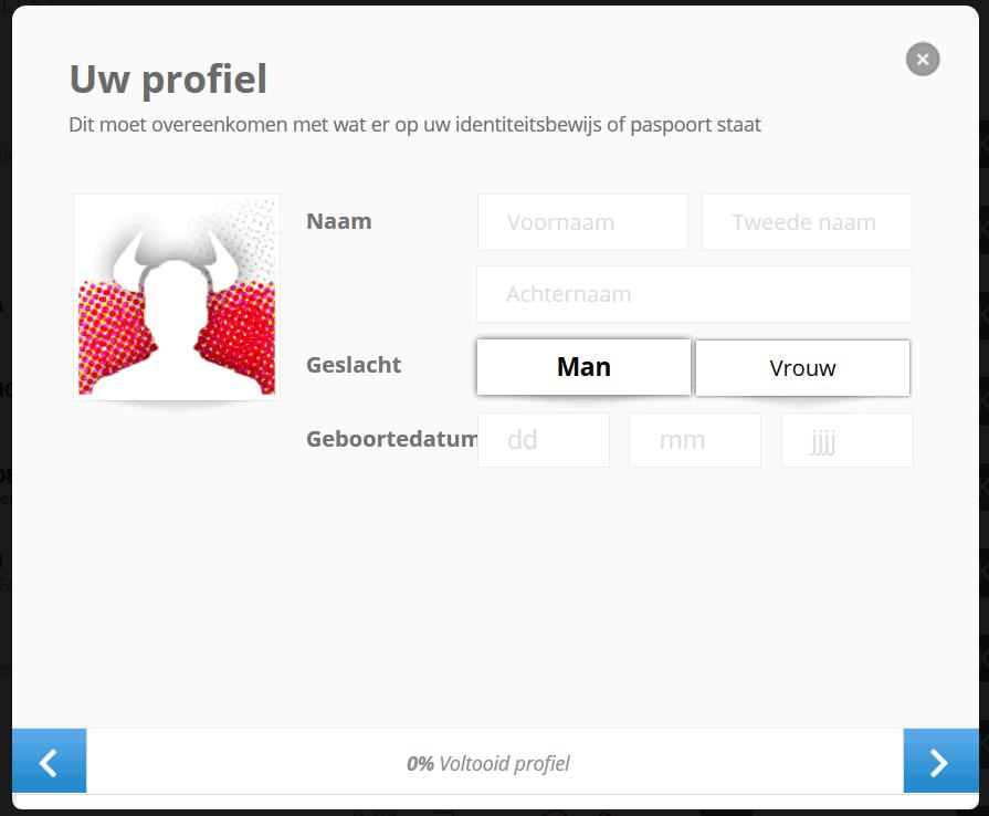 eToro profile details form